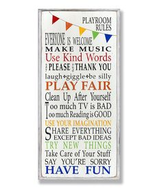 Look what I found on #zulily! Rainbow 'Playroom Rules' Wall Art by The Kids Room by Stupell #zulilyfinds