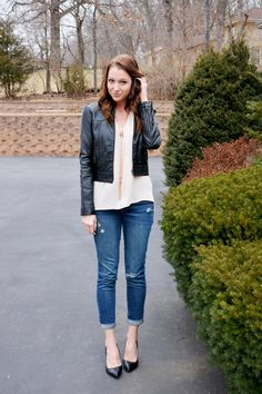 Leather Jacket, Cream Blouse, Distressed Jeans, Black Pointed Flats, Long Gold/Rose Gold Chain Necklaces (Lauren Conrad Chic of the Week, Jacy)