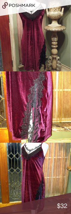 """NWOT Burgundy Slip Dress Burgundy Slip Dress with Black Lace RePosh Medium bust 32"""" to 37"""" Length 36"""" with adjustable staps.   Tried on but not worn.     This dress looks so wonderful on compared to dress form.   It's super pretty and sure to get attention. boutique Dresses"""