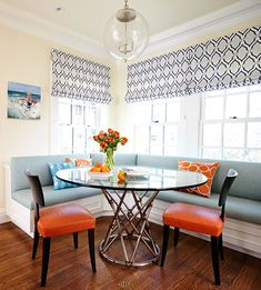 Family Friendly Friday - Breakfast room using vinyl upholstery for easy clean up and looks good too! Massucco Warner Miller via Traditional Home