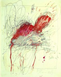Leda and the Swan, 1963 - Oil, graphite and wax crayon on canvas 99.6 x 81.2 cm © Cy Twombly