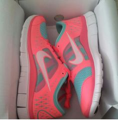 Coral & teal nikes