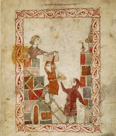 1300 Hispano-Moresque Haggadah, Castile. BL Oriental 2737, fol 62v The bondage of the Israelites in Egypt