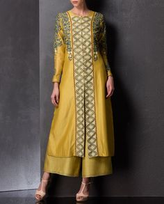 Floral Embroidered Ochre Yellow Anarkali Jacket - AM:PM - Designers
