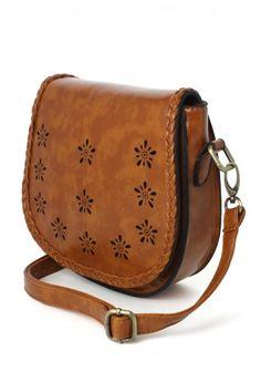 Braid Trimmed Brown Cross Body Bag in Brown