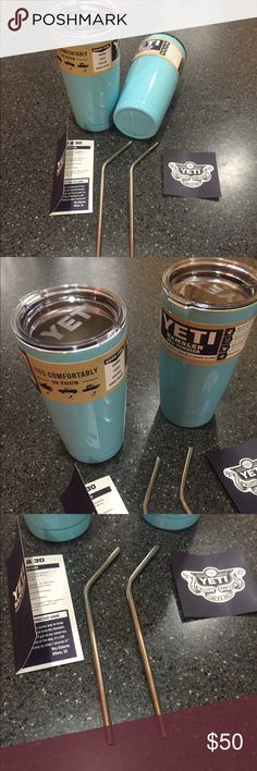 2 PC BUNDLE DEAL YETI CUP RAMBLER TUMBER MINT BLUE Brand new  Yeti 20oz rambler tumbler  Color:  Mint blue  Lasts 12-24 hours hot and cold  quantity:  2 cups with lids and straws total  shipping fast 3-4 business days   Beverages ice cold mini cooler iced cup insulated for heat and cold   Hot drinks water tea coffee juice wine beer camping hiking yeti Other