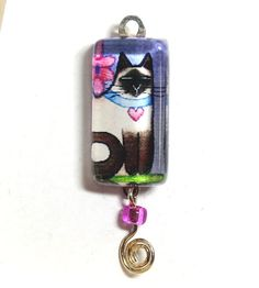 Siamese Garden Cat Glass Charm with Bead for DIY jewelry by SusanFayePetProjects, $8.00