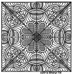 Square with hearts and feathers abstract zentangle Coloring pages colouring adult detailed advanced printable Kleuren voor volwassenen coloriage pour adulte anti-stress kleurplaat voor volwassenen