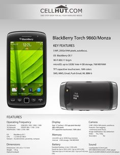 by Cellhut via Slideshare Blackberry Torch, Product Brochure, Phone, Telephone, Mobile Phones