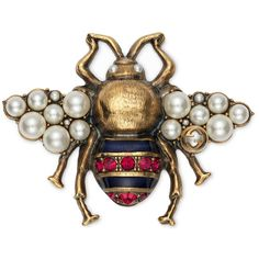 Gucci Bee Brooch With Crystals And Pearls ($830) ❤ liked on Polyvore featuring jewelry, brooches, accessories, brooch, pins, gold, gucci jewelry, bumble bee jewelry, chain jewelry and pin brooch