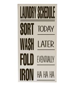 Cream & Brown Laundry Schedule Wall Art