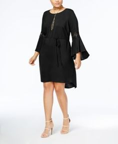 Love Squared Trendy Plus Size Lace-Trim Dress - Black 1X