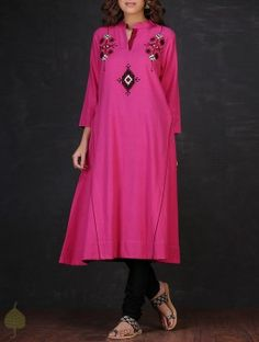 Pink-Black Mandarin Collar Embroidered Cotton Kurta by Jaypore