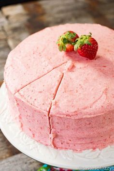 Hints for the perfect Homemade Strawberry Cake! This from-scratch recipe us… Hints for the perfect Homemade Strawberry Cake! This from-scratch recipe uses fresh strawberries in the cake and in the homemade buttercream. Strawberry Cake From Scratch, Homemade Strawberry Cake, Fresh Strawberry Cake, Strawberry Cake Recipes, Strawberry Puree, Cake Recipes From Scratch, Strawberry Buttercream, Pioneer Woman Strawberry Cake Recipe, Strawberry Buttermilk Cake Recipe