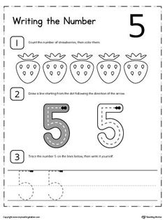 Learn how to count and write number 5 with these printable activity worksheets for preschool and kindergarten.