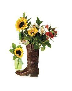 repurpose cowboy boots into wedding center pieces