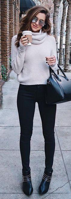 #winter #fashion /  Light Turtleneck / Black Leather Tote Bag / Black Skinny Jeans / Black Leather Booties