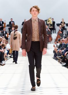 Bitter chocolate notch lapel jacket in satin, wool mohair tailored trousers and suede tassel loafers