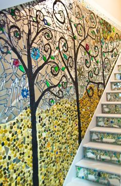 How awesome would a mosaic mural be! Stone Mosaic, Mosaic Glass, Stained Glass, Glass Art, Mosaic Wall Art, Tile Art, Mosaic Tiles, Mosaics, Mosaic Stairs