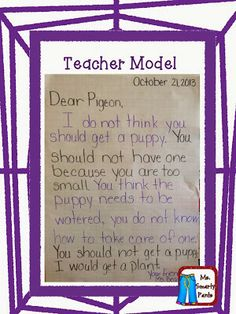 Opinion Writing -- start w/ The Pigeon Wants a Puppy as whole class instruction, and then move to Llama book and write a letter.