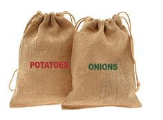Need vintage potato and onion storage? Keep them fresh while absorbing moisture and allowing airflow. Strong burlap with jute drawstring closure. Set of 2 bags screenprinted with Potatoes and Onions. Charleston Bags™ exclusive.