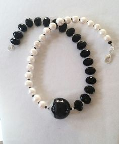 Elegant Freshwater Pearl and Black Agate Necklace by GemsbyJoniH