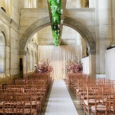 Brides: Gold and Pink Formal Wedding Ceremony :love the drapes and the two large floral arrangements. Maybe hang some glass votives as well.