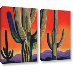 ArtWall Rick Kersten Saguaro Dawn 2-Piece Gallery-wrapped Canvas Set, Size: 18 x 24, Green