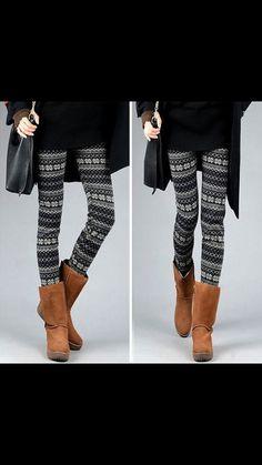 Snowflake print leggings winter leggings on Etsy, $22.00