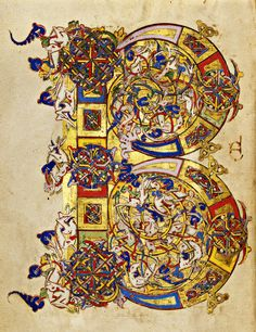 Unknown illuminator but maybe Sigenulfus, who is mentioned in a prayer in this book from Montecassino, Southern Italy 1153. Made with tempera colours, gold leaf,gold paint and ink on parchment.