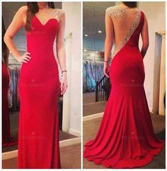 Custom Made Sheath One Shoulder Red Beaded Prom Dress,Sexy Open Back Mermaid Prom Gown on Etsy, $179.99
