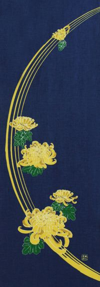 手ぬぐい「菊祭り地紺」