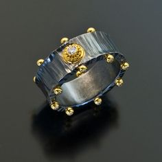 Zaffiro Jewelry - Etrusco  Collection Wide Band Series Ring set with Diamonds in granulated 22kt yellow gold on a forged and oxidized sterling silver band 8MM wide.  (=)