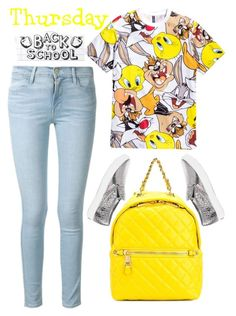 """""""back to school"""" by ecem1 ❤ liked on Polyvore featuring White House Black Market, Frame Denim and Moschino"""