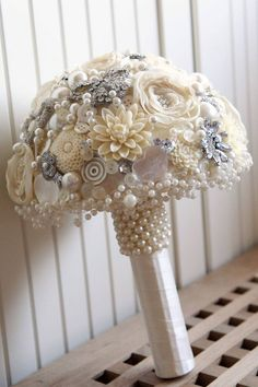 Vintage style artificial Brooch Bridal Wedding POSIE Bouquet NEW made to order
