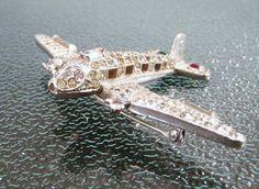 Vintage Crown Trifari Airplane Rhinestone by CharmedCollectibles, $375.00
