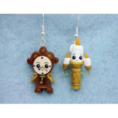 earrings,pendientes,disney,lumiere,ding dong,clay,fimo,