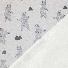 Alpine Fleece Sweatshirt - Bear Ecru A warm stretch sweatshirt fabric with a cosy backing. Composition: 40% Cotton 54% Polyester 6% Spandex Width: 150 cm Weight: 365 g / m2 Design: Height: 40 cm, width 40 cm