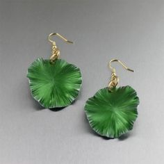 Green Anodized Aluminum Lily Pad Earrings Inspired by Nature