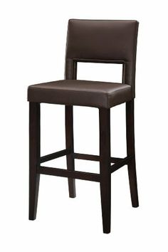 """Linon Vega Bar Stool 30 by Linon. $105.32. The faux leather has the same look and feel as real leather but is more durable and much easier to maintain. Wipe clean dark brown PVC seat and back rest cover. Slightly tapered legs. 30"""" seat height. Espresso Frame Finish. The 30"""" Vega Bar Stool features a rich, dark espresso finish. Great for homes with dark accents, this stool also has a padded dark brown PVC vinyl seat and back. The legs are slightly tapered for a more e..."""