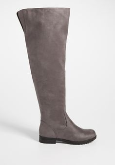 Sydney wide calf faux suede over the knee boot in gray