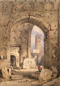 Temple of Peace, Roman Forum, 1825-50 by Samuel Prout