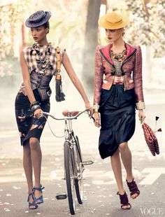 Jourdan Dunn and Anna Jagodzinska  Photographed by Steven Meisel, Vogue, February 2009