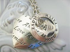 reversible heart with inspiration charm love hope faith and bird necklace