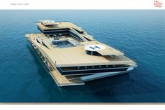 130m Uldas super yacht concept from above