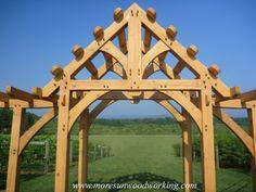 Timber frame pergola - so many possibilities! http://moresunwoodworking.com/
