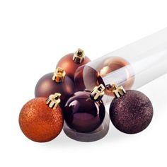 Set of Six Bronze/Brown Shatterproof Christmas Tree Baubles