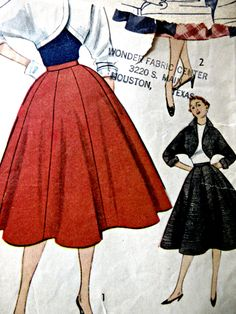 Vintage Simplicity 3773 Sewing Pattern, 1950s Skirt Pattern, Bolero Pattern, Bust 34, 1950s Sewing Pattern, Full Flared Skirt Kimono Sleeves by sewbettyanddot on Etsy