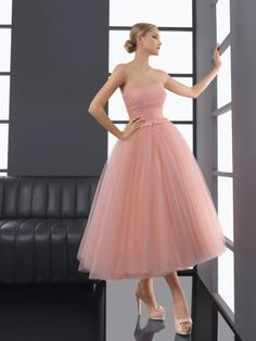 A-line Strapless Tulle Tea-length Sleeveless Pleats Prom Dresses at Msdressy