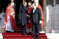 Prince Albert II of Monaco and Princess Charlene of Monaco attend the Ceremony of the Sainte-Devote, the patron saint of the Principality of Monaco and Corsica on January 27, 2015 in Monaco.